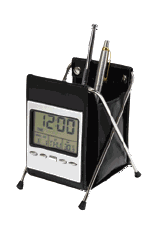 LEATHERITE PEN HOLDER WITH DIGITAL CLOCK - FOLDABLE